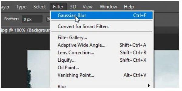 Sử dụng Gaussian Blur kết hợp Eraser Tool