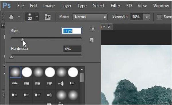 Sử dụng công cụ Blur Tool