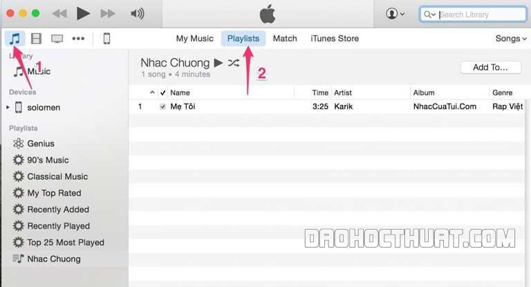 iTunes để cài nhạc chuông iphone