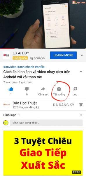 cách tải video youtube về điện thoại