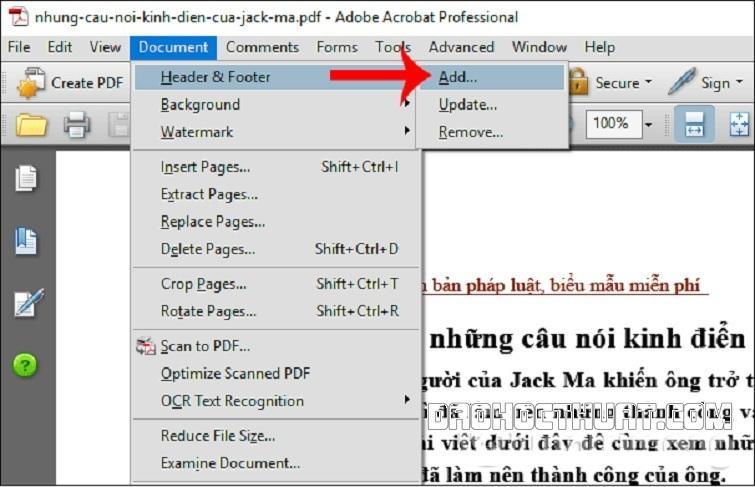 đánh số trang trong PDF Foxit Reader bằng phần mềm Adobe