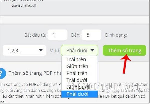 Đặt số trang PDF Foxit Reader online