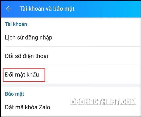 cách thay đổi mật khẩu Zalo
