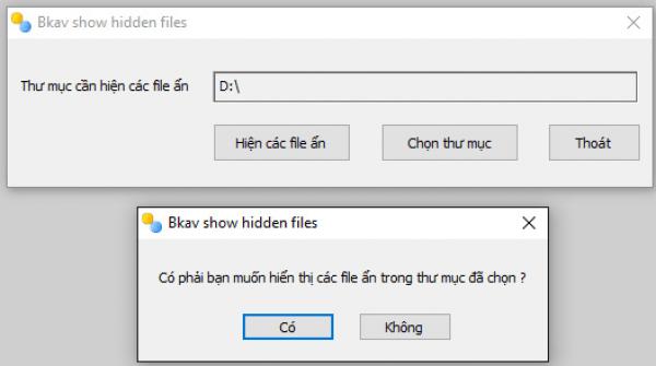 Phần mềm FixAttrb Bkav hiện file ẩn