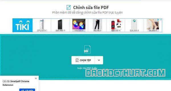 Xõa chữ pdf bằng smallpdf