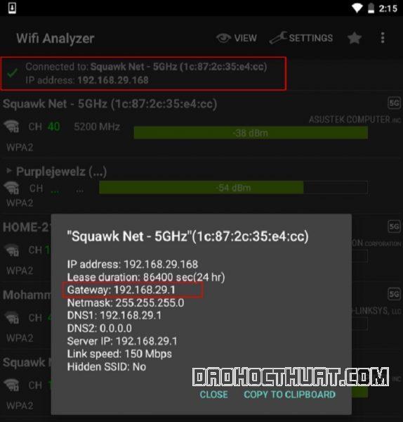 Cách truy ra IP Modem Wifi bằng ứng dụng Wi-FiAnalyzer