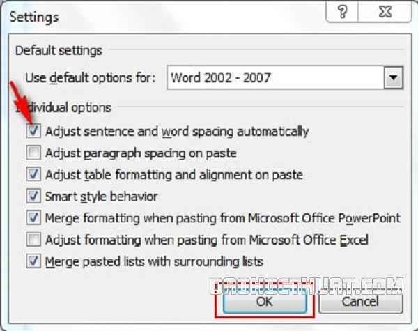 Mẹo chỉnh lỗi nhảy chữ trong Word phiên bản 2010, 2007