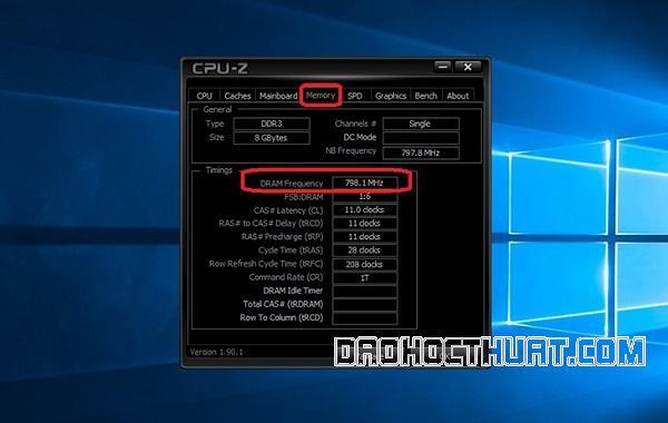 Cách xem bus ram bằng phần mềm CPU – Z
