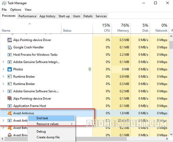 cách tắt Avast free antivirus cho Windows 8