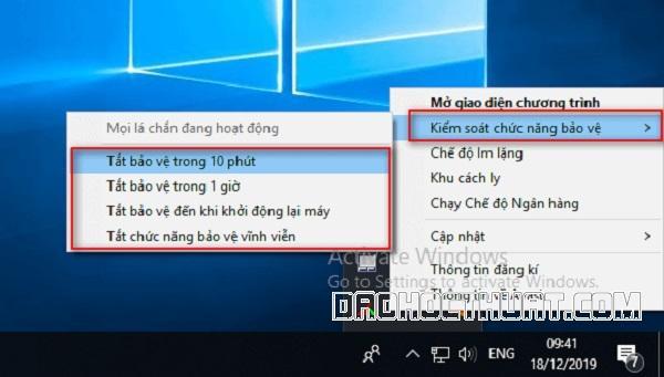 Tip tắt chương trình Avast free antivirus Win 8