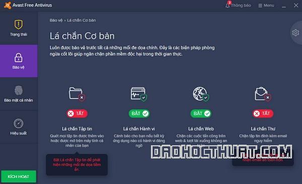 Cách tắt phần mềm Avast free antivirus tạm thời
