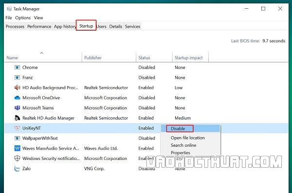 Tắt một số ứng dụng cùng khởi động với Windows
