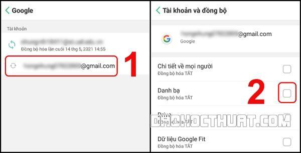 hướng dẫn cách sao lưu danh bạ lên Gmail