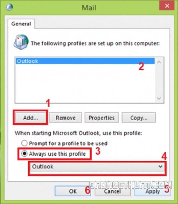 ứng dụng outlook bị lỗi không thể mở
