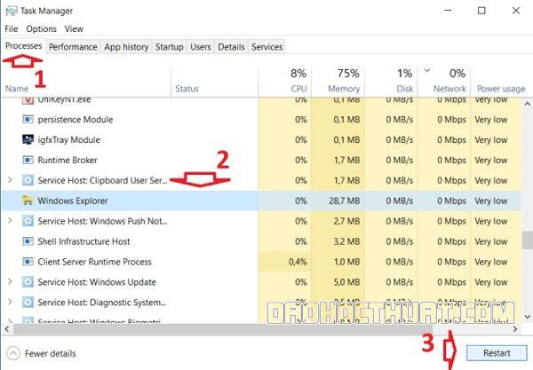 cách xử lý khi thanh taskbar trên Windows 10 không hoạt động